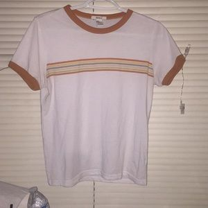 🌟forever 21 white and orange tee with stripes🌟